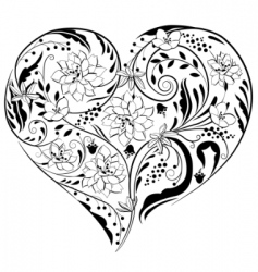 Heart shape made of flowers vector