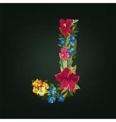 J letter flower capital alphabet colorful font vector