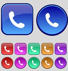 Phone support call center icon sign a set of vector