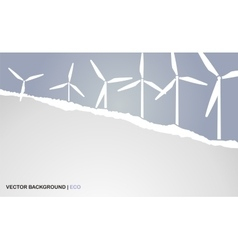 Background with torn paper and windmills vector