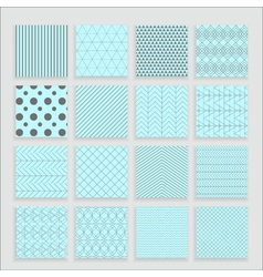 Set of 16 abstract geometric blue patterns vector
