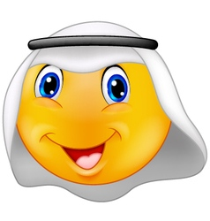 Emoticon smiley with arabic dress vector