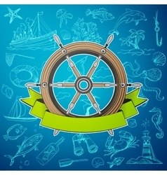 Helm boat with hand-drawn elements of marine theme vector