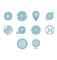Globe icon set vector