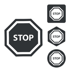 Stop icon set monochrome vector