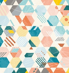 Abstract retro geometric hexagonal pattern vector