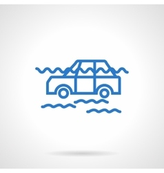 Car flood insurance blue line icon vector