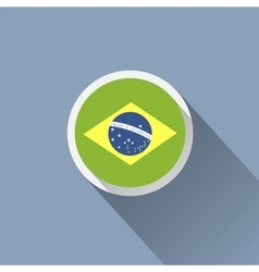 Brazil flag button icon vector