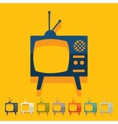 Flat design old tv vector