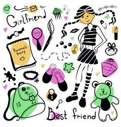 A set of things girl drawing pen vector image vector image