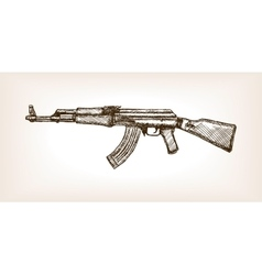 Ak rifle hand drawn sketch vector image