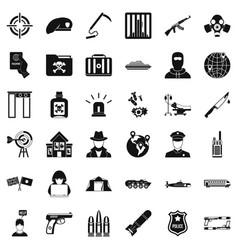 Antiterrorist help icons set simple style vector