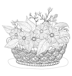 Basket with flowers contours vector image vector image