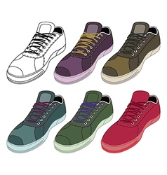 Black outlined colored sneakers shoes set vector image