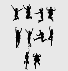 Business Jumping Silhouette art design vector image vector image