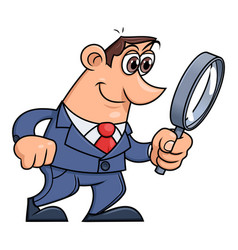 Businessman is looking through the loupe 2 vector
