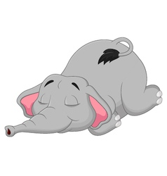 Cartoon elephant sleeping vector