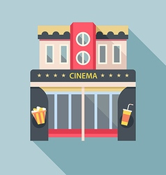 Cinema theater building detailed flat icon vector