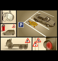 Designer set for car parking vector