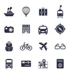 Digital black travel icons vector