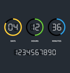 Digital clock or countdown timer time vector