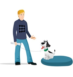 Dog owner bed vector
