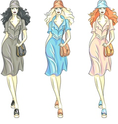 Fashion girls top models vector image