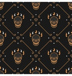 gold skull seamless pattern Art Deco Dark vector image vector image