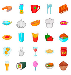 Have supper icons set cartoon style vector
