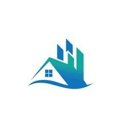 home wave business real estate logo vector image