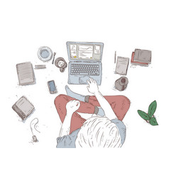 human with laptop at home sitting on the floor vector image