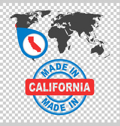 Made in california america usa stamp world map vector