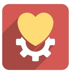 Mechanical heart flat rounded square icon with vector
