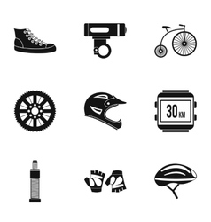 Race bike icons set simple style vector