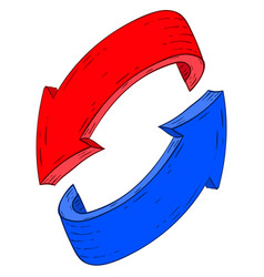 Red and blue recycle arrows hand drawn sketch vector