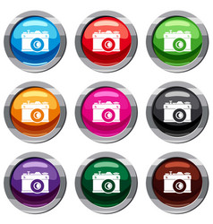 retro camera set 9 collection vector image