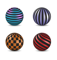 Set of glossy colored balls with strip and square vector