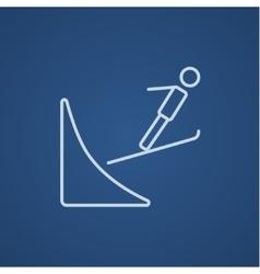 Ski jumping line icon vector