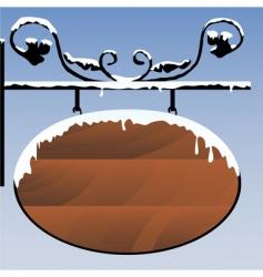 snowy wooden signboard vector image vector image