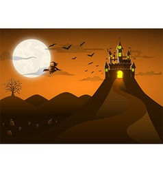 Spooky ghost castle on the hill with full moon vector