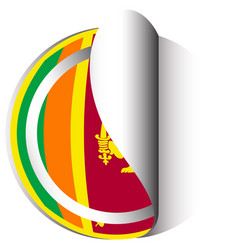 Sri lanka flag on round sticker vector