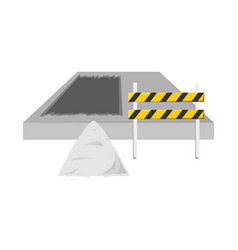 trafic barrier and construction sand vect vector image