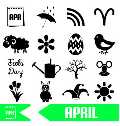 April month theme set of simple icons eps10 vector