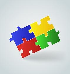 Four colorful puzzle pieces vector image