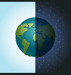 Earth night and day nighttime planet in space lot vector