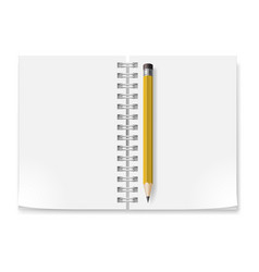 Notebook with white pages and yellow pencil vector