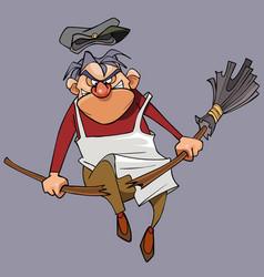 Cartoon evil male janitor breaks the broom vector