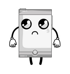 Grayscale kawaii cute crying smartphone technology vector
