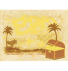 Chest full of gold on abstract old paper vector