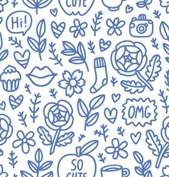 Abstract things doodle seamless pattern vector